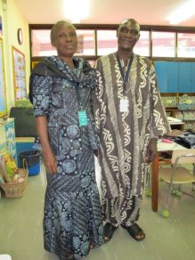 This husband and wife team come to school occasionally to sell their batik fabrics